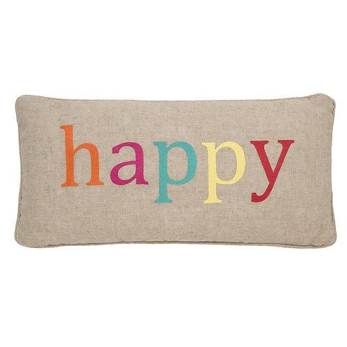 """HAPPY"" BURLAP PILLOW"