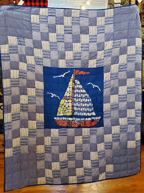MARINE GLIDE HAND QUILTED APPLIQUED THROW