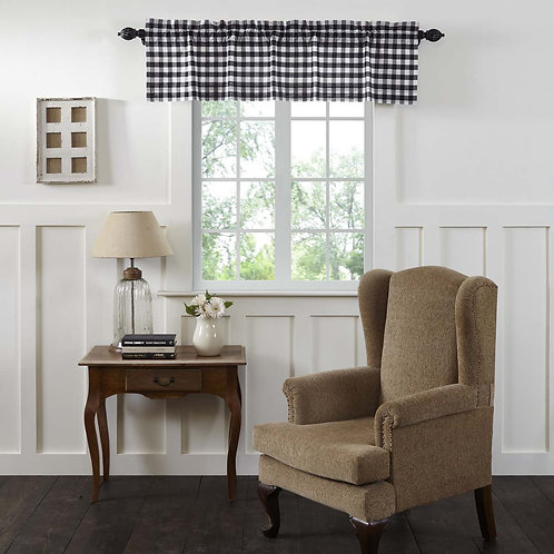 ANNIE BUFFALO BLACK CHECK VALANCE CURTAIN