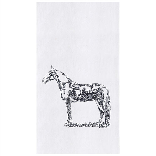 BARNYARD HORSE EMBROIDERED FLOUR SACK TOWEL