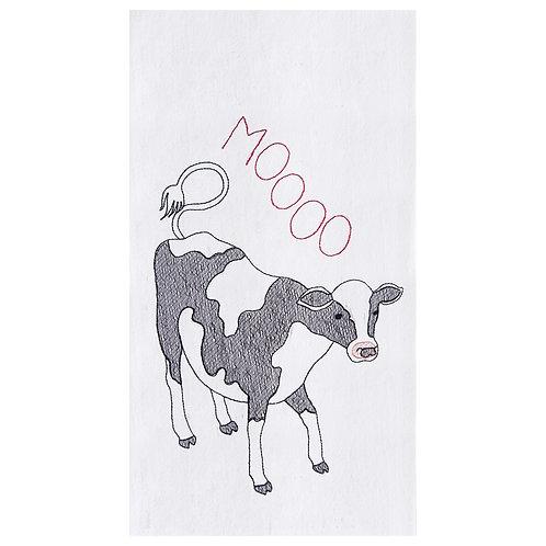 """""""Moooo"""" EMBROIDERED FLOUR SACK TOWEL"""