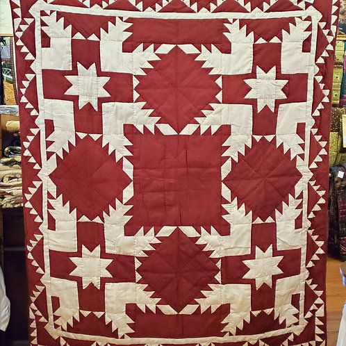 RED FEATHERED STAR HAND QUILTED THROW