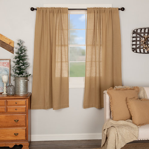 BURLAP NATURAL SHORT PANEL CURTAIN SET OF 2 63X36