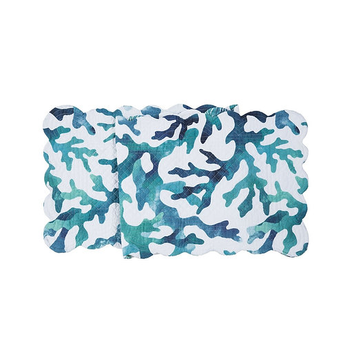 AQUA REEF QUILTED TABLE RUNNER