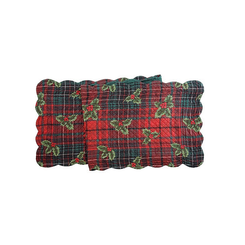 NICHOLAS PLAID QUILTED TABLE RUNNER