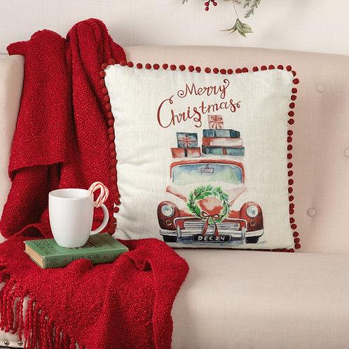 MERRY CHRISTMAS TRUCK PILLOW