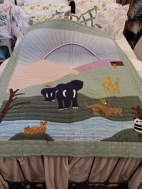 HANDMADE PRIMITIVE STYLE NOAH'S ARK QUILT (ONLY ONE MADE)