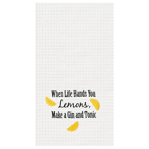 """When Life Hands You Lemons..."" EMBROIDERED WAFFLE WEAVE KITCHEN TOWEL"