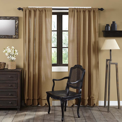 BURLAP W/BLACK CHECK SCALLOPED PANEL CURTAIN SET OF 2 84X40