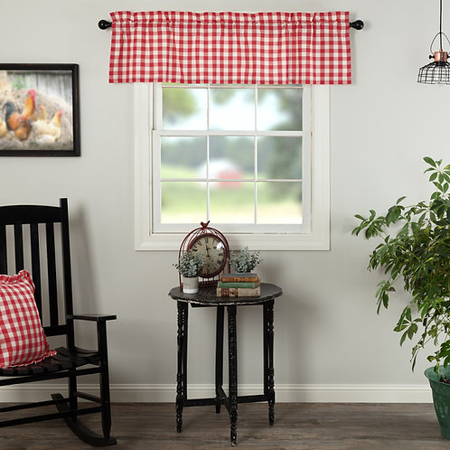 ANNIE BUFFALO RED CHECK VALANCE CURTAIN