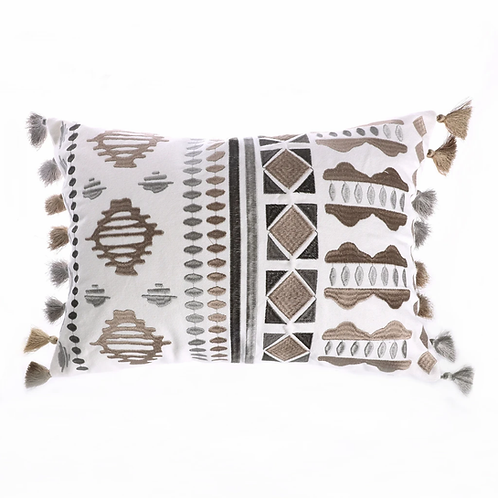 TREVINO EMBROIDERED FRINGE PILLOW