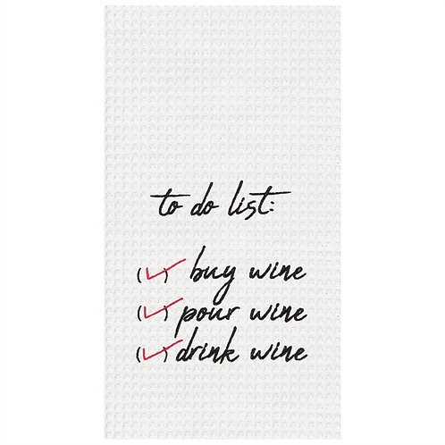 """""""To Do List"""" EMBROIDERED WAFFLE WEAVE KITCHEN TOWEL"""