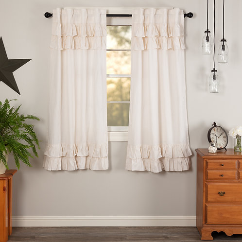 SIMPLE LIFE FLAX ANTIQUE WHITE RUFFLED SHORT PANEL CURTAIN SET OF 2 63X36