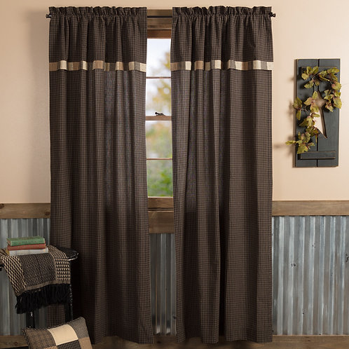 KETTLE GROVE PANEL CURTAIN WITH ATTACHED VALANCE BLOCK BORDER SET OF 2 84X40