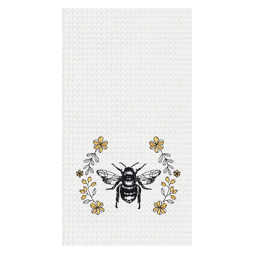 BUMBLE BEE EMBROIDERED WAFFLE WEAVE KITCHEN TOWEL