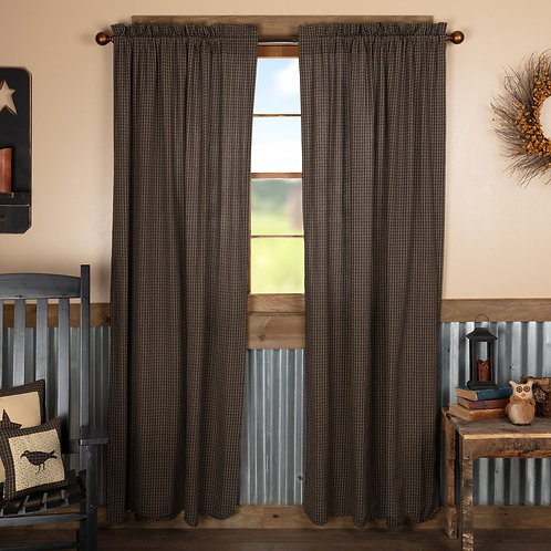 KETTLE GROVE PLAID PANEL CURTAIN SCALLOPED SET OF 2 84X40