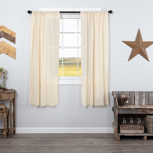 TOBACCO CLOTH NATURAL SHORT PANEL CURTAIN FRINGED SET OF 2 63X36