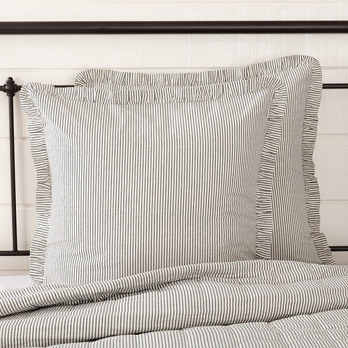 HATTERAS SEERSUCKER BLUE TICKING STRIPE FABRIC EURO SHAM