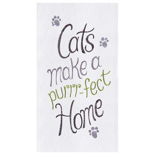 """Cats Make a Purrr-fect Home"" EMBROIDERED FLOUR SACK TOWEL"