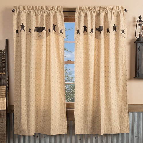 KETTLE GROVE SHORT PANEL CURTAIN WITH ATTACHED VALANCE SET OF 2