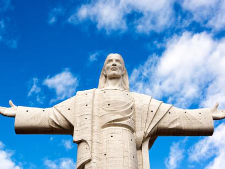 Brazilian icon lit with coronavirus theme