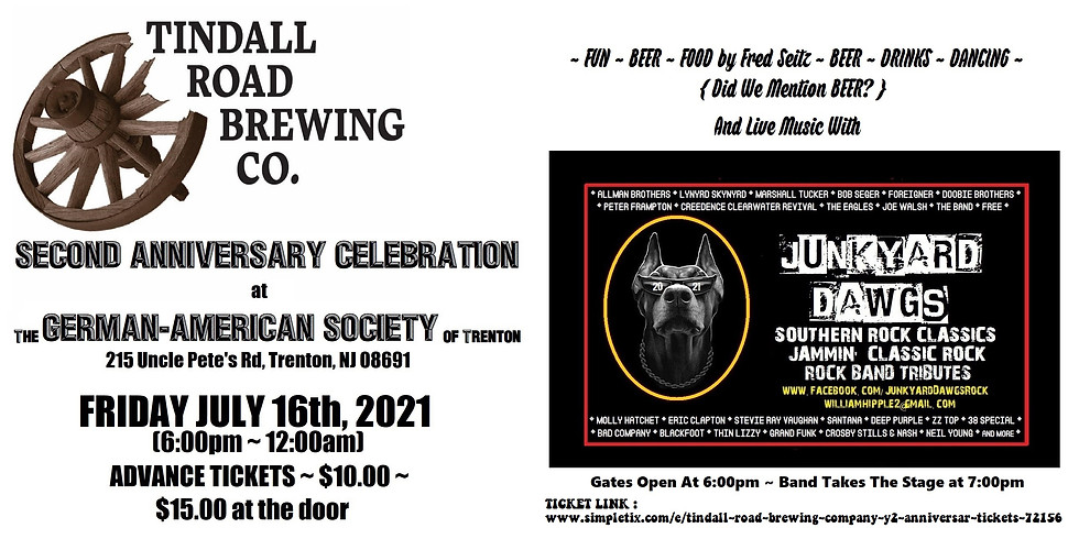 JUNKYARD DAWGS @ Tindall Road Brewing Co. Two Year Anniversary Celebration