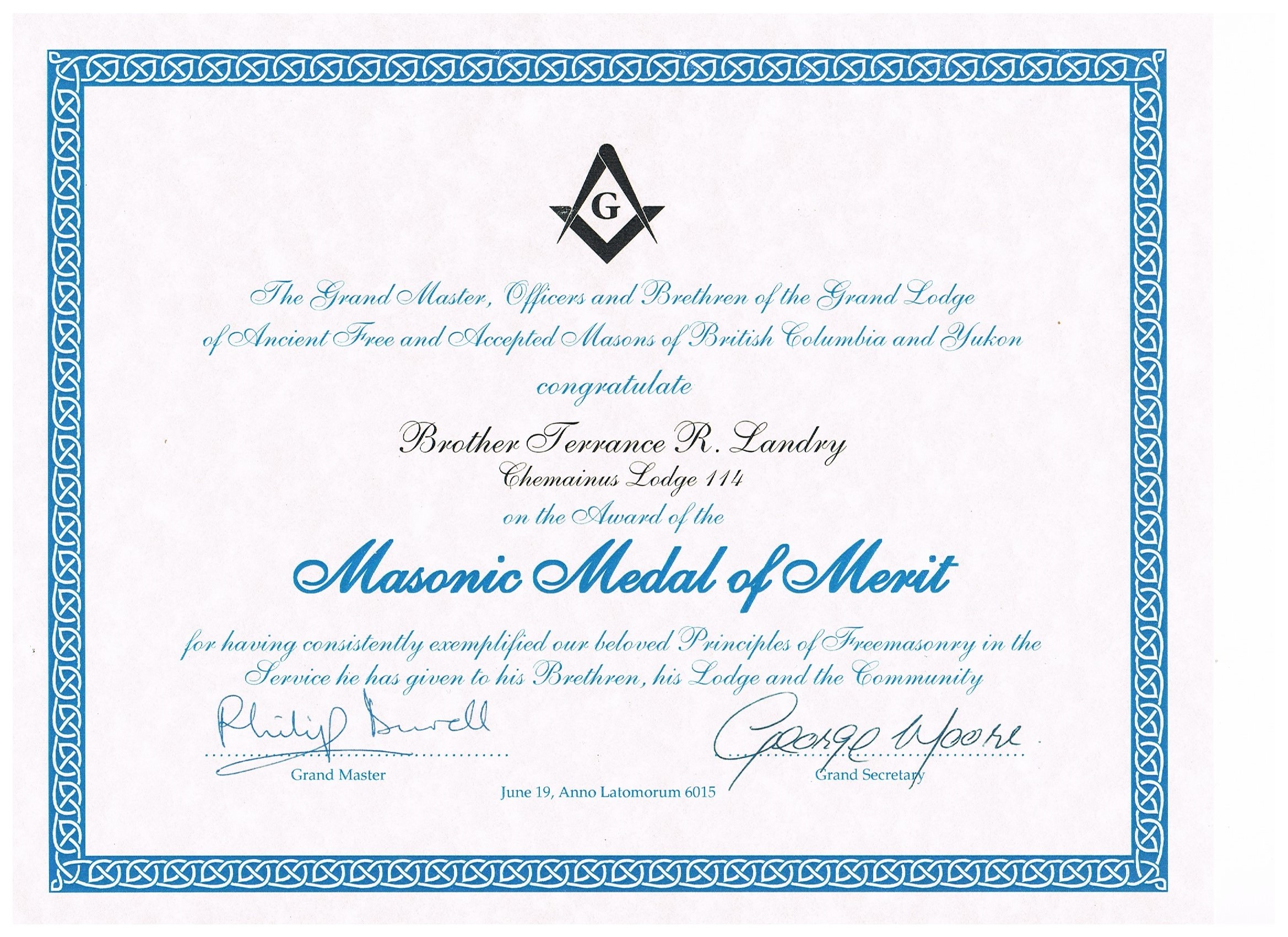 Masonic Medal of Merit Certificate