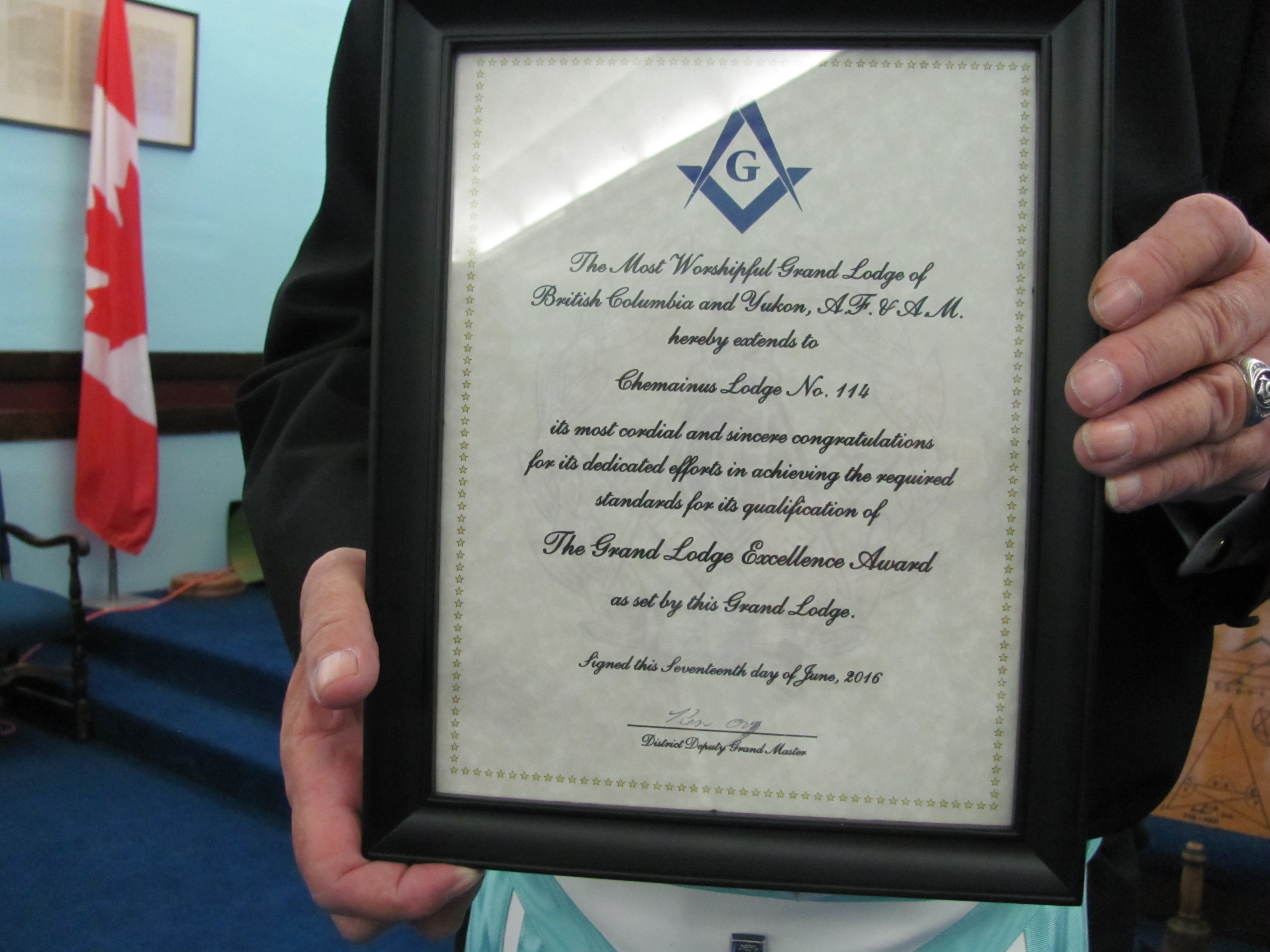 2016 Grand Lodge Excellence Award