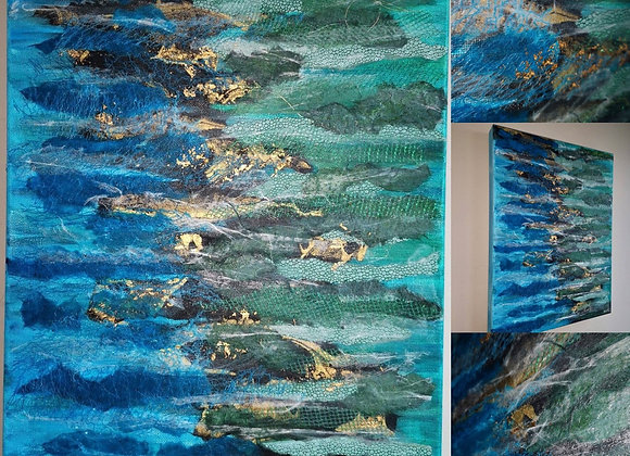 'Reflections' Mixed Media Canvas* - NB in stock at Spindrift Gallery Portscatho