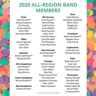 2020 Killian Region Band