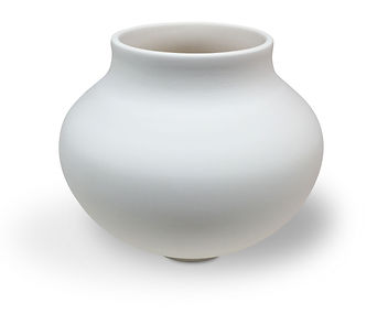 Bisque fired thrown ceramic vase from Dan Harelick Studio Art in Riverdale, NY
