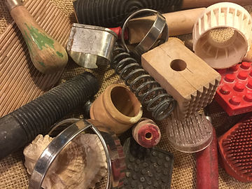 Inspiration in a box at Dan Harelick Studio Art. Hundreds of tools and texture make creativity easy for hand building students.