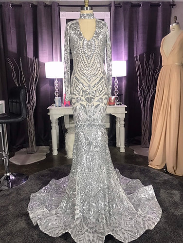 """""""ALLURE"""" COUTURE PEPLUM GOWN LOW V FRONT AND BACK"""