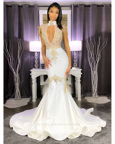 """JEWEL"" LACE AND PEARL WITH DRAPING STONE FRINGE PEPLUM SEQUIN GOWN"