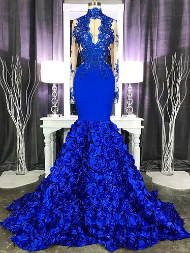 """""""ELANA"""" COUTURE HAND BEADED / ROSETTE GOWN"""