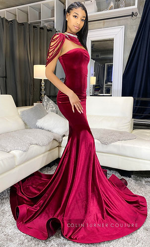 """RIMMA"" HAND DRAPED NECK ACCENT VELVET  PEPLUM SEQUIN GOWN"