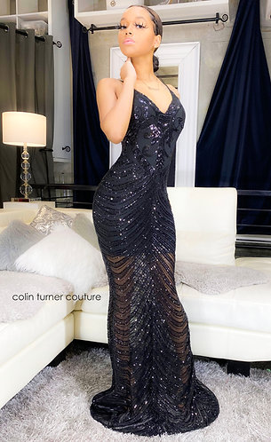 TAYLOR COUTURE SPAGHETTI DOUBLE STRAP GOWN