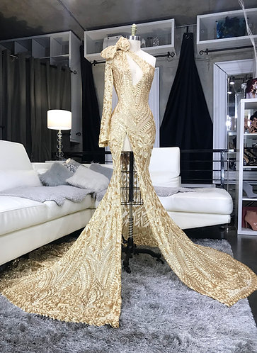 """EPIPHANY"" HIGH SLIT / ACCENT BOW / SLIT SLEEVE / PEPLUM SEQUIN GOWN"