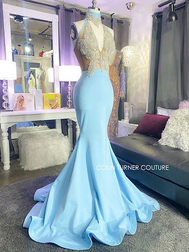 """""""GENEVIEVE"""" COUTURE GLASS STONE OVERLAYED BODICE, PEPLUN GOWN"""