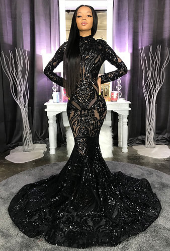 """BLACK MAHJA"" COUTURE SEQUIN GOWN"