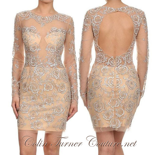 CTC - Couture Crystal Floral Cocktail Dress