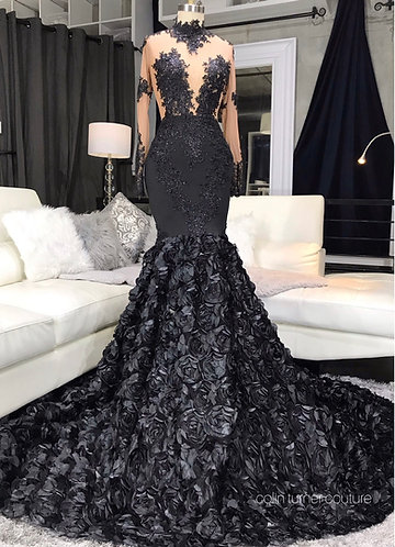 BLACK WILLOW HAND EMBELLISHED, ROSSETTE PEPLUM GOWN