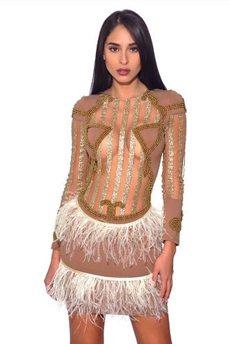 CTC - COUTURE MARKITA BANDAGE, BEADED, FEATHERED DRESS