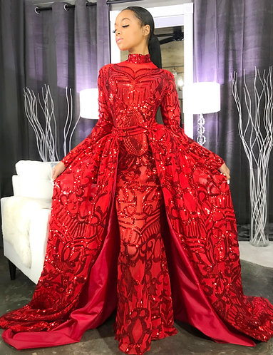 """GIOVANI"" COUTURE DETACHABLE TRAIN SEQUIN GOWN"