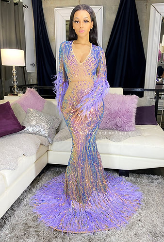 """""""JASHANTA"""" COUTURE NUDE MESH / RADIANT SEQUIN / HAND LAID OSTRICH FEATHER GOWN"""