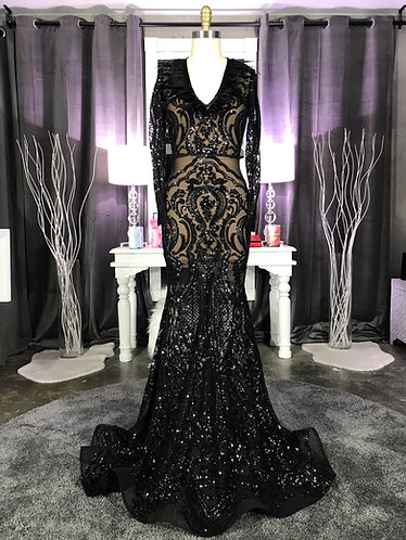 BRINA COUTURE SEQUIN WITH FEATHER ACCENTED V FRONTGOWN