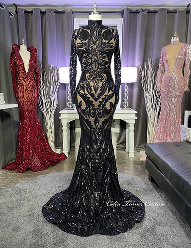 """""""BLACK MAHJA"""" COUTURE SEQUIN GOWN"""