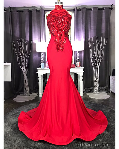 MILAN COUTURE HAND CUT SEQUIN BODICE / SUPER EXTENDED TRAIN GOWN