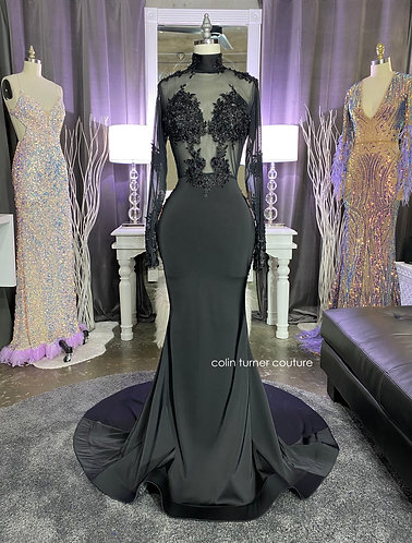 """""""CHIRON"""" COUTURE HAND SEWN BEADED LACE / MESH BODICE PEPLUM GOWN"""