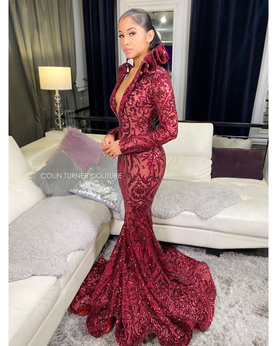 """""""CYNTHIA"""" COUTURE SEQUIN RUFFLE COLLAR GOWN"""